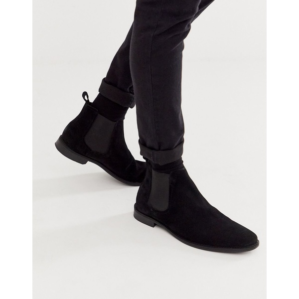 エイソス メンズ ブーツ&レインブーツ シューズ ASOS DESIGN chelsea boots in black suede with black sole Black