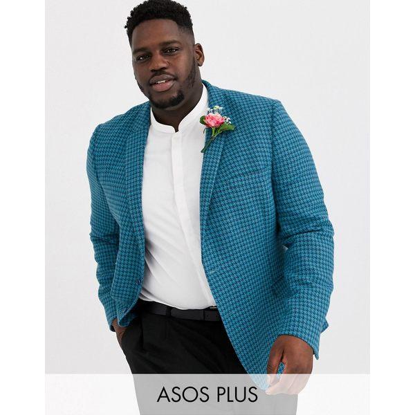 エイソス メンズ ジャケット&ブルゾン アウター ASOS DESIGN Plus super skinny wool mix blazer in large blue houndstooth Blue