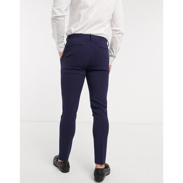 エイソス メンズ カジュアルパンツ ボトムス ASOS DESIGN super skinny suit pants in four way stretch in navy NavyrtshCdQxBo
