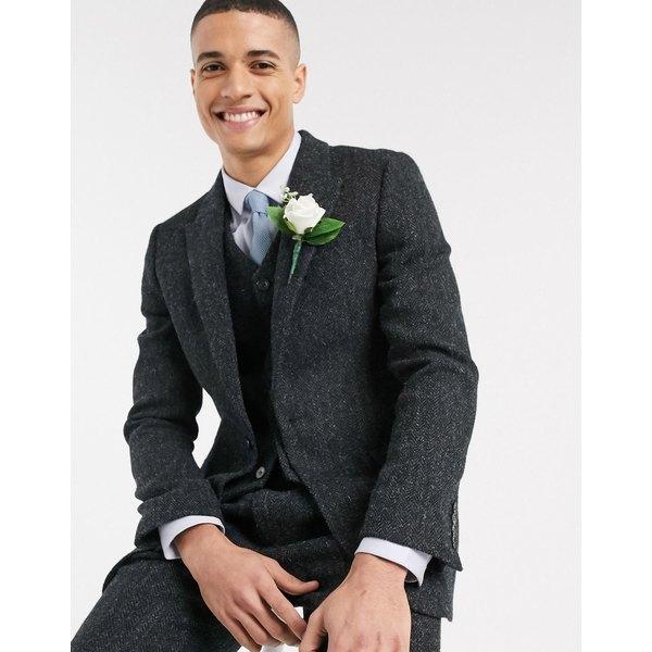 エイソス メンズ ジャケット&ブルゾン アウター ASOS DESIGN slim suit jacket in 100% wool Harris Tweed in charcoal herringbone Charcoal