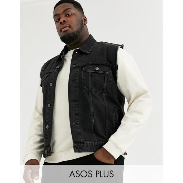 エイソス メンズ ジャケット&ブルゾン アウター ASOS DESIGN Plus sleeveless denim jacket in black Black