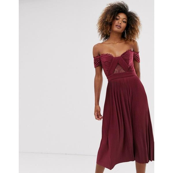 エイソス レディース ワンピース トップス ASOS DESIGN premium lace and pleat bardot midi dress Oxblood