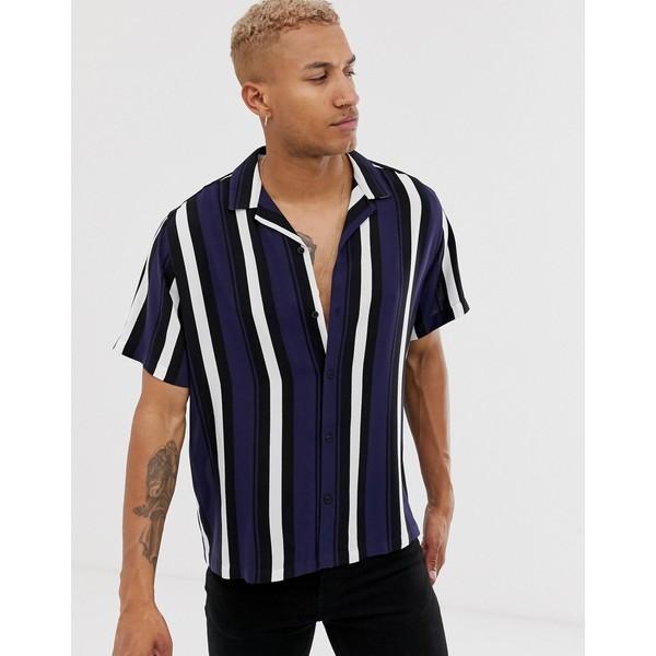 エイソス メンズ シャツ トップス ASOS DESIGN oversized retro navy stripe shirt Navy