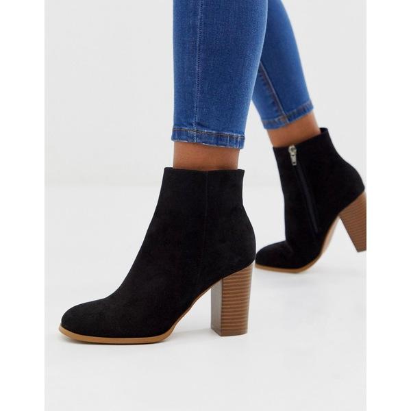 エイソス レディース ブーツ&レインブーツ シューズ ASOS DESIGN Rye heeled ankle boots in black Black