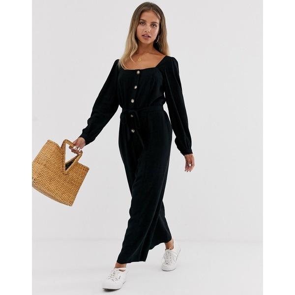 エイソス レディース ワンピース トップス ASOS DESIGN button front tie waist puff sleeve jumpsuit with long sleeves Black