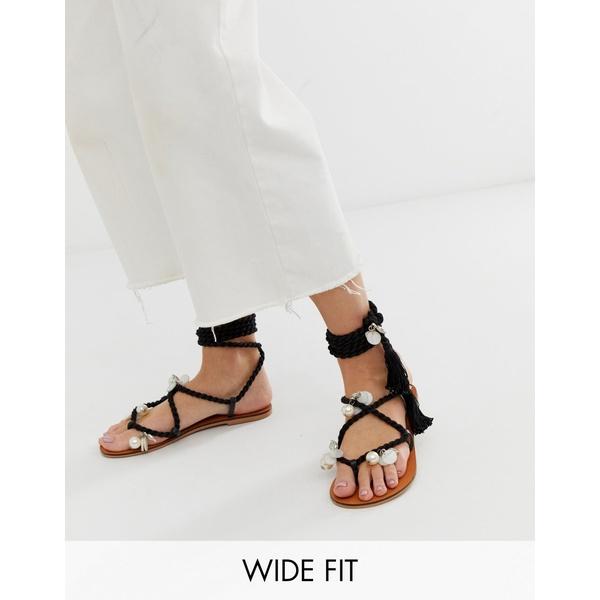 エイソス レディース サンダル シューズ ASOS DESIGN Wide Fit Fields embellished tie leg flat sandals Black