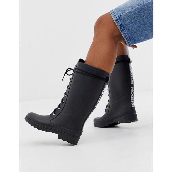 エイソス レディース ブーツ&レインブーツ シューズ ASOS DESIGN Ground chunky lace up rain boot in black Black