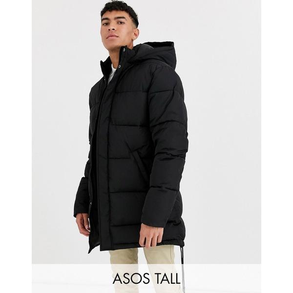 エイソス メンズ ジャケット&ブルゾン アウター ASOS DESIGN Tall oversized puffer jacket in black Black