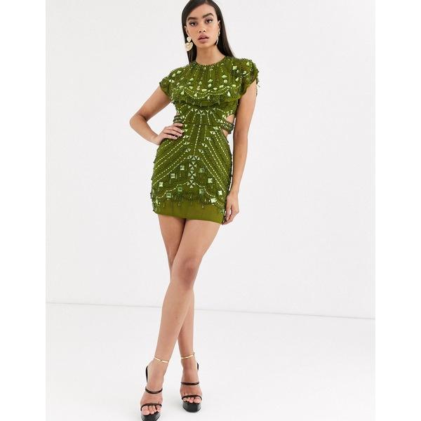 エイソス レディース ワンピース トップス ASOS DESIGN embellished cape mini dress Green