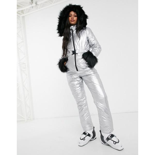 ミスガイデッド レディース ワンピース トップス Missguided belted ski suit in silver Silver