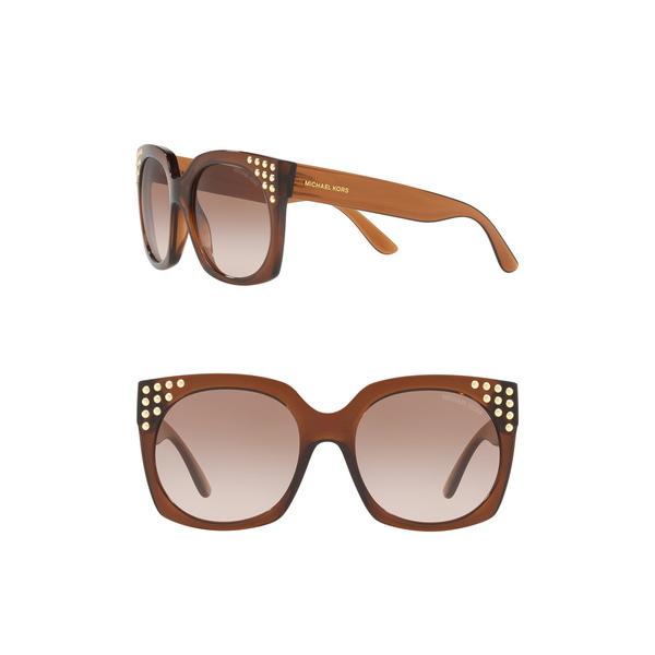 マイケルコース レディース プレゼント アクセサリー 割引も実施中 サングラス アイウェア DARK BROWN Sunglasses Destin 56mm Square Studded 全商品無料サイズ交換