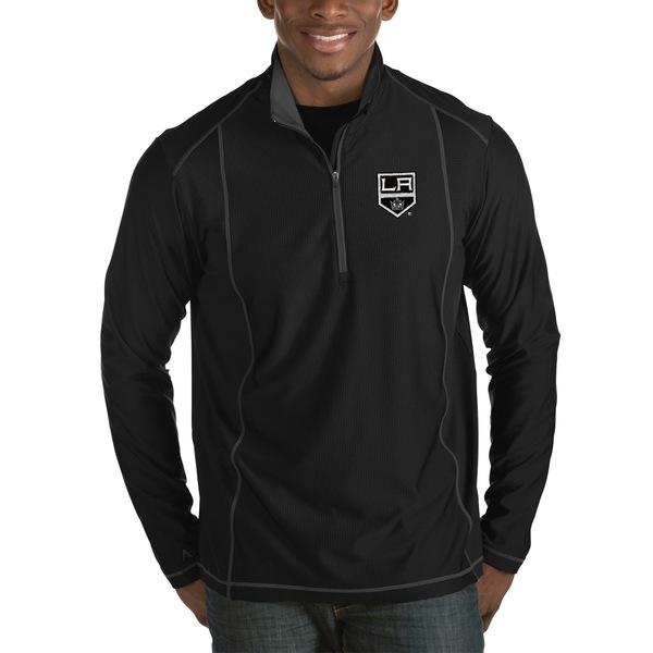 アンティグア メンズ ジャケット&ブルゾン アウター Los Angeles Kings Antigua Tempo Desert Dry HalfZip Pullover Jacket Black