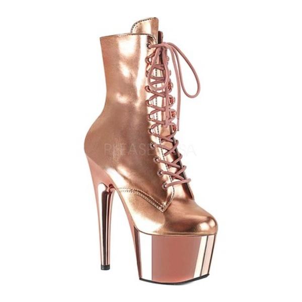 プリーザー レディース ブーツ&レインブーツ シューズ Adore 1020 Lace Up Front Ankle Bootie Rose Gold Metallic PU/Rose Gold Chrome Synthetic