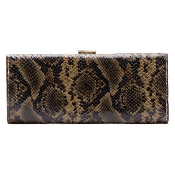 フランセスバレンタイン レディース クラッチバッグ バッグ Frances Valentine Eleni Snake Embossed Leather Clutch Nat/ Olive