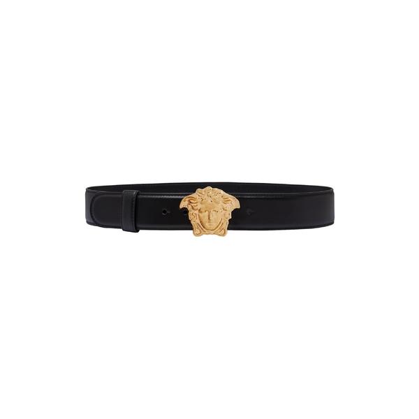 ヴェルサーチ レディース ベルト アクセサリー Versace First Line Palazzo Medusa Buckle Leather Belt Nero/Oro Tribute