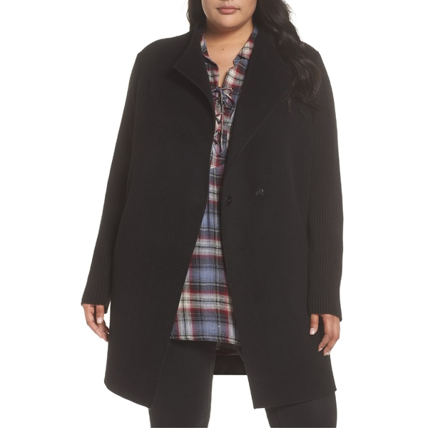 ケネスコール レディース コート アウター Kenneth Cole New York Double Face Wool Blend Knit Sleeve Coat (Plus Size) Black