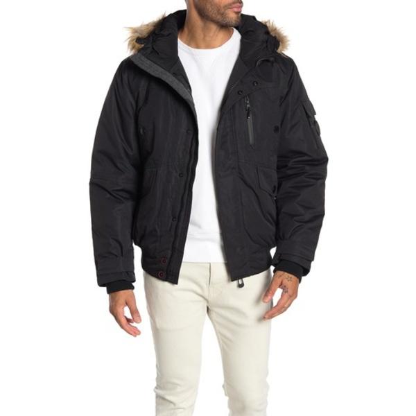 Fur Hooded BLACK Bomber メンズ ジャケット&ブルゾン アウター ノイズ Faux Jacket