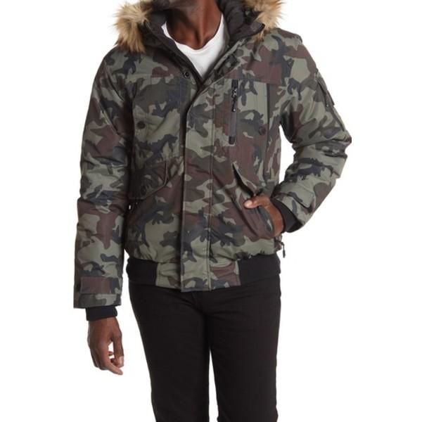 ノイズ ジャケット&ブルゾン Bomber メンズ CAMO Hooded Fur Faux CLASSIC アウター Jacket
