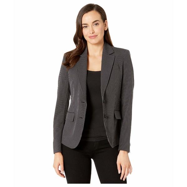 アンクライン レディース コート アウター Seersucker Two-Button Jacket Nantucket Grey/Anne Black