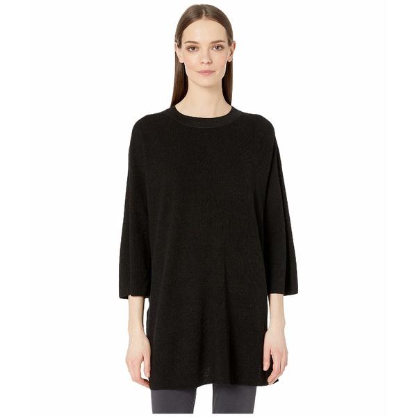 エイリーンフィッシャー レディース ニット&セーター アウター Organic Linen Crepe Stretch Round Neck 3/4 Sleeve Tunic Black