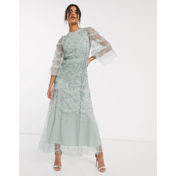 ニードルアンドスレッド レディース ワンピース トップス Needle & Thread embroidered tiered maxi dress with ruffle sleeves in mint Meadow green