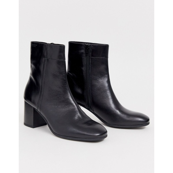 バガボンド レディース ブーツ&レインブーツ シューズ Vagabond Nicole black leather blocked mid heeled ankle boots with round toe Black leather