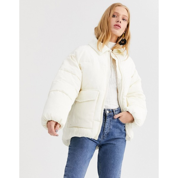 モンキ レディース コート アウター Monki short puffer jacket with cord blockings in cream Cream