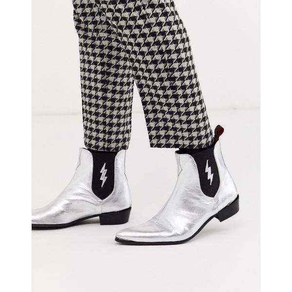 ジェフリーウェスト メンズ ブーツ&レインブーツ シューズ Jeffery West Adamant chelsea boot with lightning bolt in silver leather Silver
