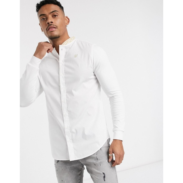 シックシルク メンズ シャツ トップス SikSilk long sleeve shirt in white with tape grandad collar White