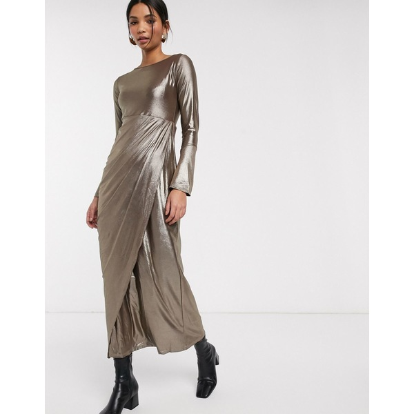 ベローナ レディース ワンピース トップス Verona maxi dress with drape wrap front in silver glitter Graphite metallic