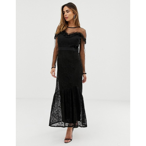 リクオリッシュ レディース ワンピース トップス Liquorish maxi dress with lace overlay and ruffle detail Black
