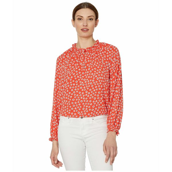 セセ レディース シャツ トップス Long Sleeve Daisy Melody Blouse with V-Neck Candy Apple
