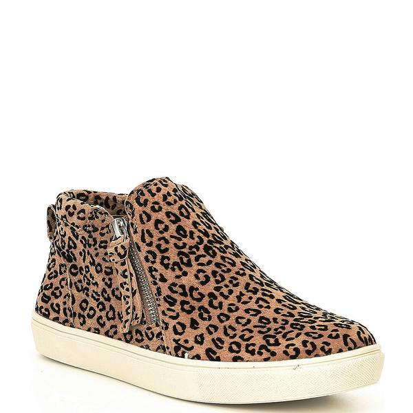 ジービー レディース スニーカー シューズ Ground-Break Leopard Suede Double-Zip Sneakers Natural