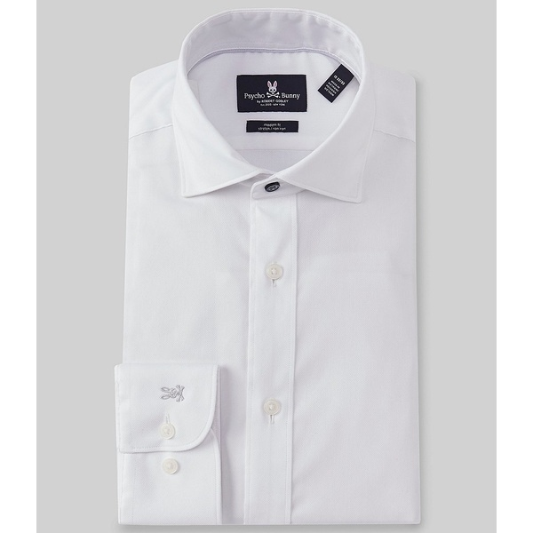 サイコバニー メンズ シャツ トップス Non-Iron Modern Fit Spread-Collar Solid Dress Shirt White Solid