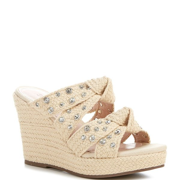 シュッツ レディース サンダル シューズ Enire Crystal Embellished Knotted Fabric Slide Sandals Natural