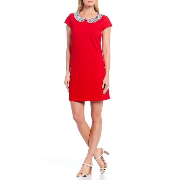 ジュリーブラウン レディース ワンピース トップス Meredith Cotton Blend Rhinestone Peter Pan Collar Dress Holly Red
