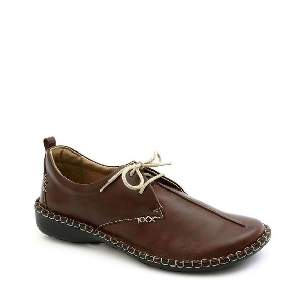 ジョセフセイベル レディース サンダル シューズ Lindsay Leather Stitch Detail Lace Up Block Heel Loafers Brandy