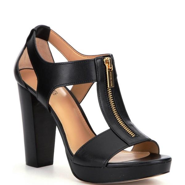 マイケルコース レディース サンダル シューズ MICHAEL Michael Kors Berkley Leather Zip-Up Block Heel Sandals Black