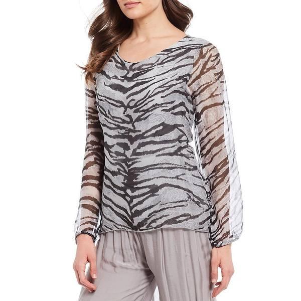 エム・メイド・イン・イタリー レディース シャツ トップス Zebra Print Woven Silk Blend Top Silver