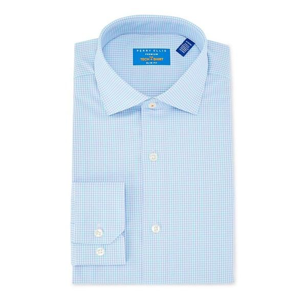 ペリーエリス メンズ シャツ トップス Tech Premium Non-Iron Slim Fit Spread Collar Checked Dress Shirt Aqua