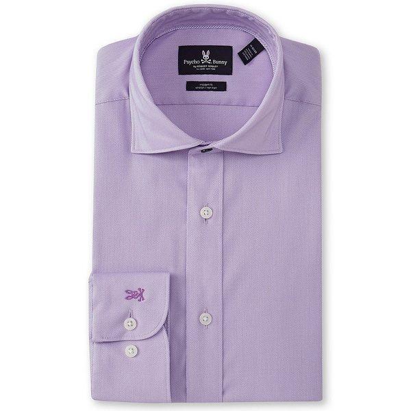 サイコバニー メンズ シャツ トップス Non-Iron Slim Fit Spread Collar Solid Dress Shirt Lilac