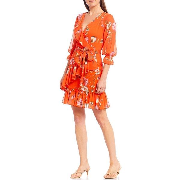 アレックスマリー レディース ワンピース トップス Anya Floral Ruffle V-Neck Wrap Dress Neon Orange/Rose/Ivory