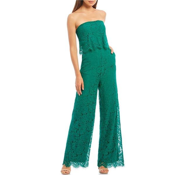 シュガーリップス レディース ワンピース トップス Lust For Love Strapless Lace Popover Wide Leg Jumpsuit Emerald