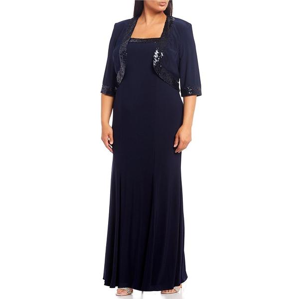 ロボス レディース ワンピース トップス Plus Size Sequin Trim Jacket Gown Navy