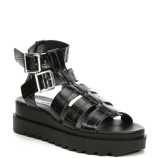 スティーブ マデン レディース サンダル シューズ Zeeta Croc Embossed Banded Sandals Black Croc