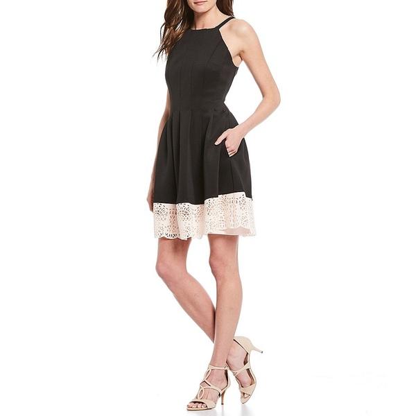 ヴィンスカムート レディース ワンピース トップス Scuba Halter Neck Colorblock Laser Cut Fit And Flare Dress Black/Blush
