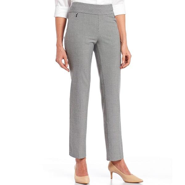 インベストメンツ レディース カジュアルパンツ ボトムス the PARK AVE fit Pull-On Straight Leg Plaid Pants with Pockets Black/White Speckle Plaid