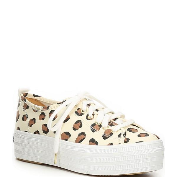 ケッズ レディース スニーカー シューズ Triple Up Leopard Print Canvas Platform Sneakers Cream/Multi