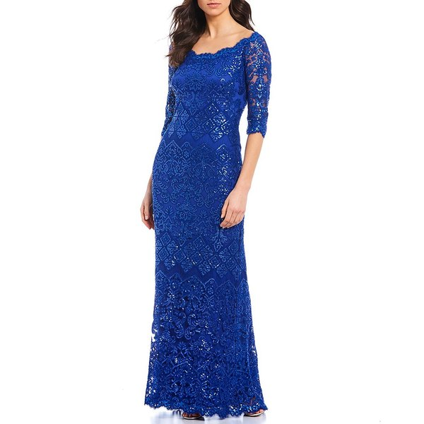 タダシショージ レディース ワンピース トップス Off-the-Shoulder Scallop Neckline Trim Sequin Lace Gown Royal Blue