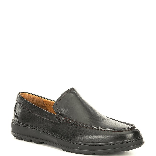 コールハーン メンズ スニーカー シューズ Men's Hamlin Venetian Leather Slip On Shoes Black